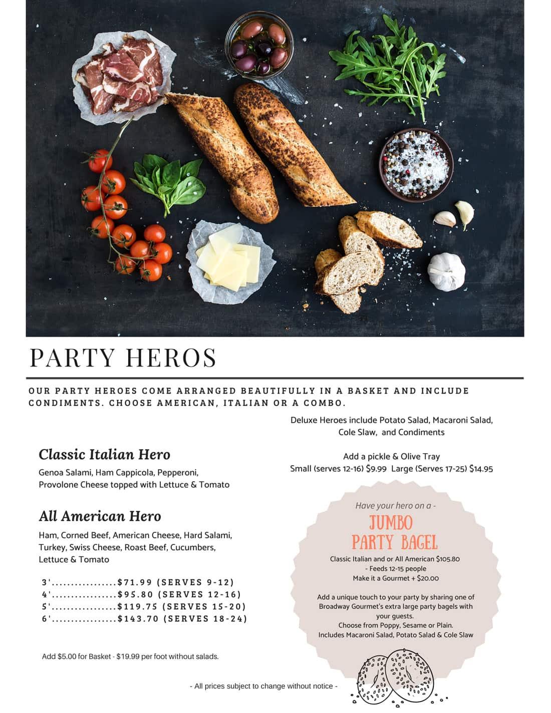 broadway gourmet Party Heroes
